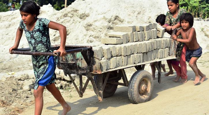 নবাবগঞ্জে ইটভাটায় অবাধে শিশুশ্রম