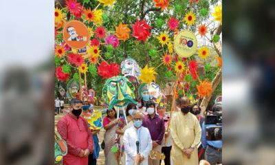 চারুকলায় প্রতীকী মঙ্গল শোভাযাত্রা